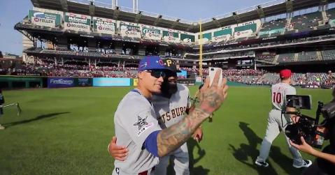 Capturing some priceless memories using his smartphone camera, Javier Baez took selfies with several other All-Stars.