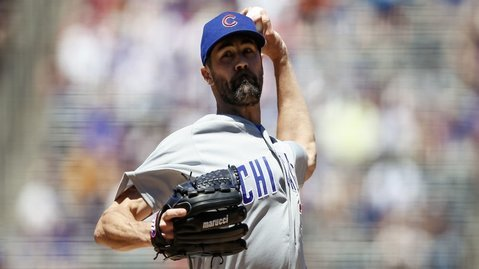 Cubs starting pitcher Cole Hamels was at the center of a controversial beaning. (Credit: Isaiah Downing-USA TODAY Sports)