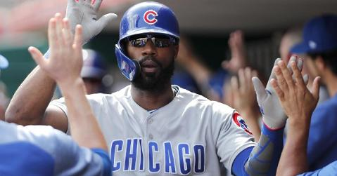 "Jason Heyward cited a ""sharp pain"" in his left knee as the reason behind him being unable to play on Wednesday. (Credit: David Kohl-USA TODAY Sports)"