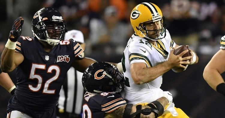 The Bears' defense sacked Aaron Rodgers five times but received very little support from the Bears' offense. (Credit: Quinn Harris-USA TODAY Sports)