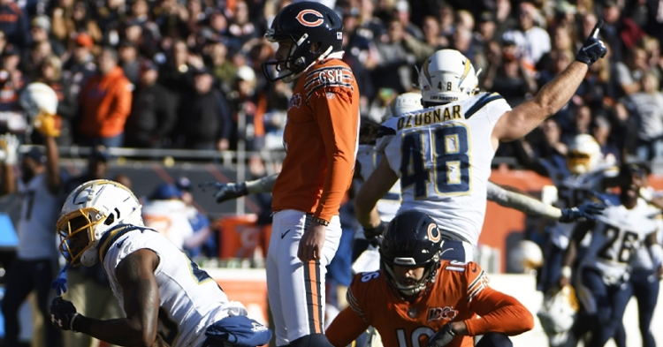 Chicago Bears kicker Eddy Pineiro missed a potential game-winning field goal, resulting in a Bears loss. (Credit: David Banks-USA TODAY Sports)