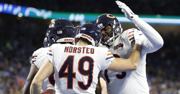 Bears quarterback Mitchell Trubisky threw three touchdowns, including one to tight end Jesper Horsted. (Credit: Raj Mehta-USA TODAY Sports)