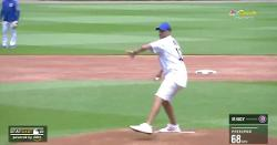 WATCH: Matt Nagy fires strike on ceremonial first pitch at Cubs game