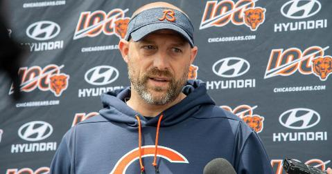 "Head Coach Matt Nagy of the Chicago Bears slurred his words while singing ""Take Me Out to the Ball Game"" and a made a comical mistake. (Credit: Patrick Gorski-USA TODAY Sports)"