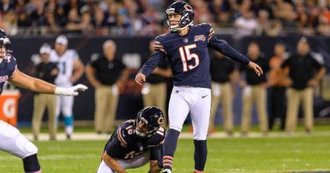 Chicago Bears kicker Eddy Pineiro went 1-for-2 on field-goal attempts in the preseason opener. (Credit: Daniel Bartel-USA TODAY Sports)