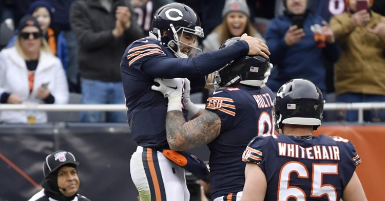 Trubisky celebrates a touchdown against the Giants (Quinn Harris - USA Today Sports)
