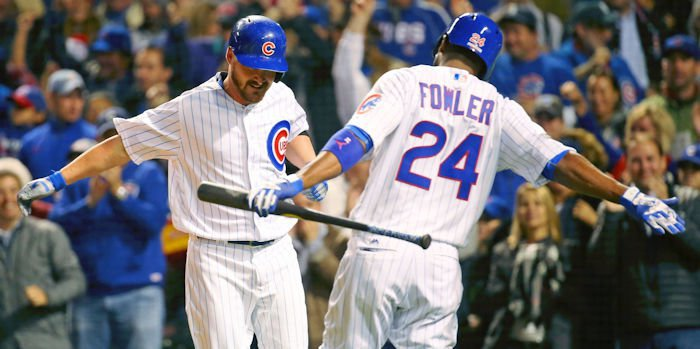Cubs celebrate Travis Wood's homer in the fifth. <span style=