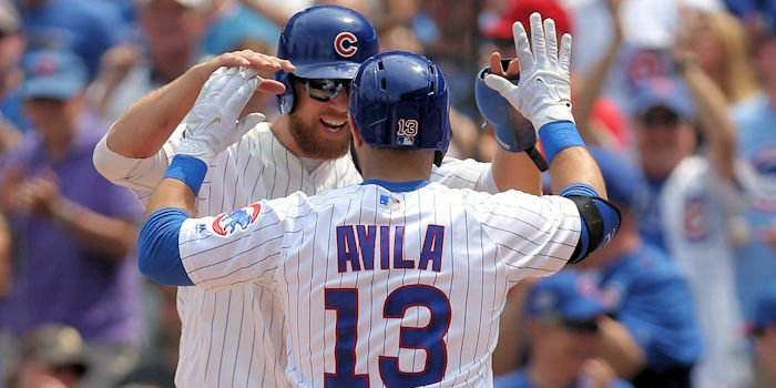 Avila cranked his first homer as a Cubs (Dennis Wierzicki - USA Today Sports)