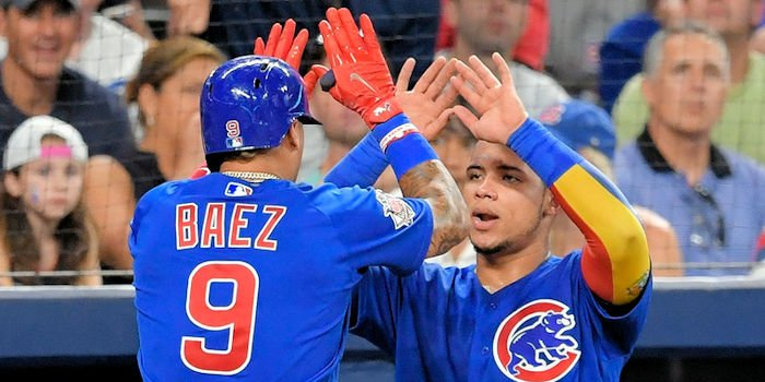 Baez's fourth career triple was the play of the evening. (Photo Credit: Mark Rebilas - USA Today Sports)