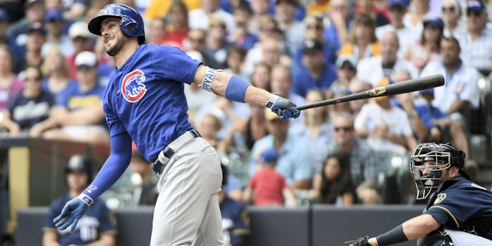 Kris Bryant kept the Cubs alive prior to the ninth inning rally by the Brewers. (Photo Credit: Benny Sieu - USA Today Sports)