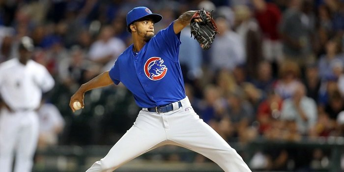 Carl Edwards, Jr., was not the sole cause of the Cubs' meltdown on Sunday, but he was a primary component of it. Photo Credit: Dennis Wierzbicki-USA TODAY Sports