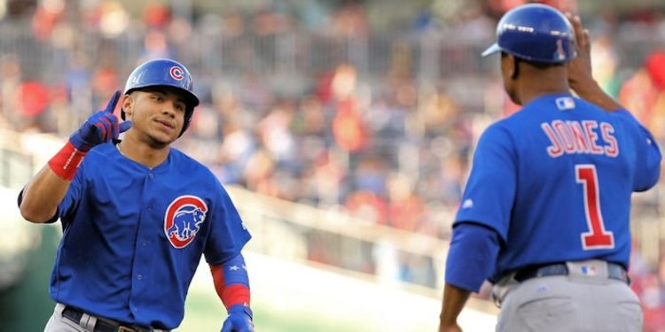 Add Chicago catcher Willson Contreras to the ever-growing list of unlikely Cubs leadoff hitters. Credit: Geoff Burke-USA TODAY Sports