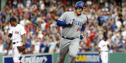 By hitting so many crucial home runs, Chicago Cubs first baseman Anthony Rizzo is making an MVP case for himself through the first month of the season. Credit: Winslow Townson-USA TODAY Sports
