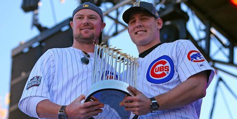 Fans attending Sunday invited to take photos with Red Sox & Cubs World Series trophies