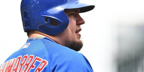 Thus far this year, Chicago Cubs slugger Kyle Schwarber is enduring a woeful season at the plate, but it is not entirely his fault. Credit: Ron Chenoy-USA TODAY Sports