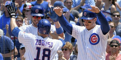 Three different players hit home runs for the Chicago Cubs in what was a total team effort at the plate on Saturday.