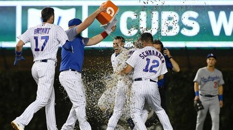 The Chicago Cubs topped the Los Angeles Dodgers on a walk-off single by Albert Almora, Jr., in the 10th inning. (Photo Credit: Matt Marton-USA TODAY Sports)