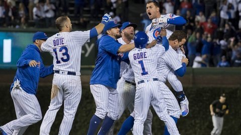 Coming through in the clutch, Albert Almora Jr. swung on an 0-2 count and delivered a game-winning hit. (Photo Credit: Patrick Gorski-USA TODAY Sports)