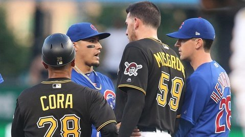 Javier Baez was not pleased with Joe Musgrove's hard slide into second base. (Photo Credit: Charles LeClaire-USA TODAY Sports)