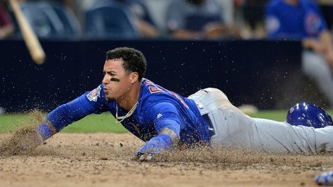 Javier Baez made the most of the San Diego Padres' mistakes on his winning play. (Photo Credit: Jake Roth-USA TODAY Sports)
