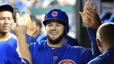 Two of the biggest hits of David Bote's baseball life have come against the Nationals. (Photo Credit: Brad Mills-USA TODAY Sports)