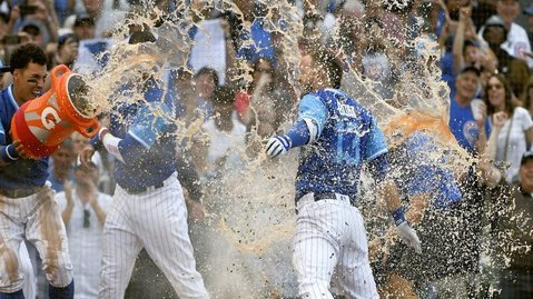 David Bote received a well-deserved Gatorade bath after hitting his second career walk-off bomb. (Photo Credit: Matt Marton-USA TODAY Sports)