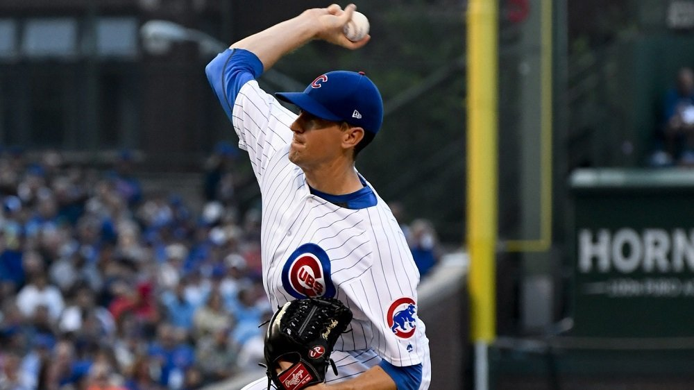 Cubs pitcher Kyle Hendricks received no run support whatsoever in his five-inning start. (Photo Credit: Matt Marton-USA TODAY Sports)