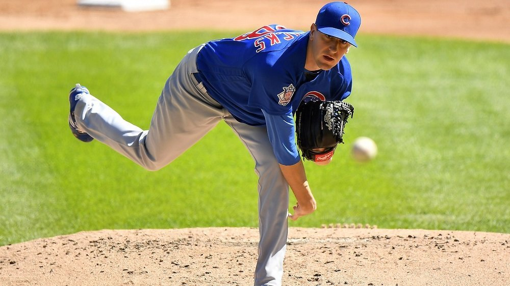 Cubs pitcher Kyle Hendricks collected a win for his stellar 7.2-inning start on Sunday. (Photo Credit: Quinn Harris-USA TODAY Sports)