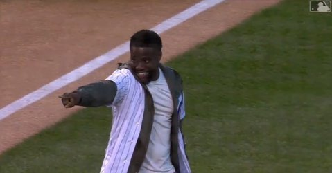 Based on his shaky first pitch, Kevin Hart might not have what it takes to become the shortest pitcher in Major League Baseball history.