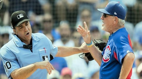 Joe Maddon was ejected when voicing his displeasure over a strikeout of Ben Zobrist. (Photo Credit: Patrick Gorski-USA TODAY Sports)