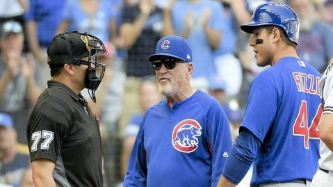 Anthony Rizzo epitomized the frustrating afternoon for the Cubs with his reaction to a questionable call on a third strike. (Photo Credit: Benny Sieu-USA TODAY Sports)