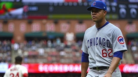 Jose Quintana was taken to the proverbial woodshed in the first inning. (Photo Credit: Jeff Curry-USA TODAY Sports)