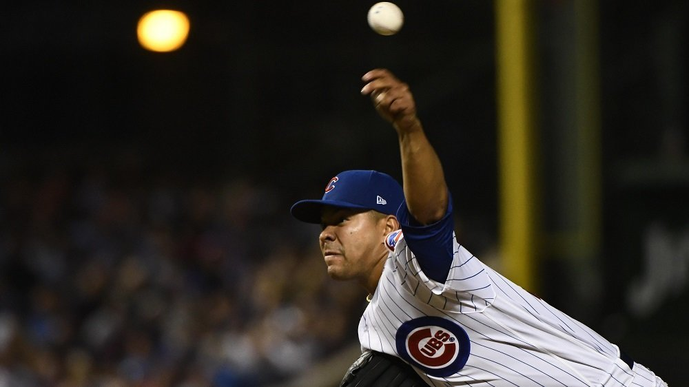 Chicago Cubs starting pitcher Jose Quintana fanned seven and gave up only three hits in 6.2 innings of work. (Photo Credit: Matt Marton-USA TODAY Sports)