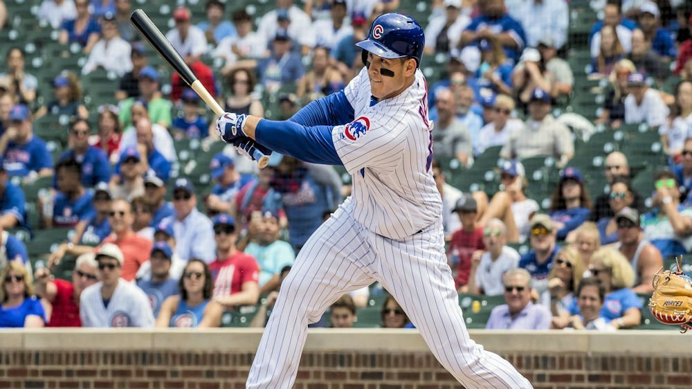 Anthony Rizzo's near-homer on a hit to the warning track in the eighth epitomized the Cubs' sickening loss. (Photo Credit: Patrick Gorski-USA TODAY Sports)