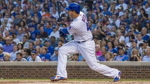 Chicago Cubs first baseman Anthony Rizzo led all batters with three hits on the night. (Photo Credit: Patrick Gorski-USA TODAY Sports)