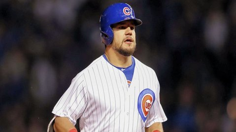 "Kyle Schwarber showed off his range by singing ""Take Me Out to the Ball Game"" during the interlude of <i>Miracle</i>. (Credit: Kamil Krzaczynski-USA TODAY Sports)"
