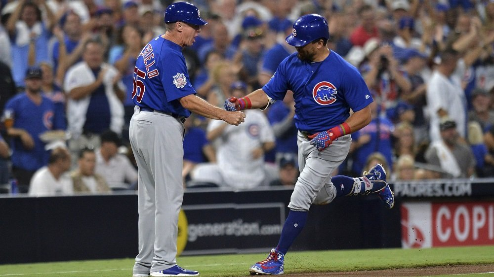 Kyle Schwarber was one of three different Cubs to go yard on the night. (Photo Credit: Jake Roth-USA TODAY Sports)