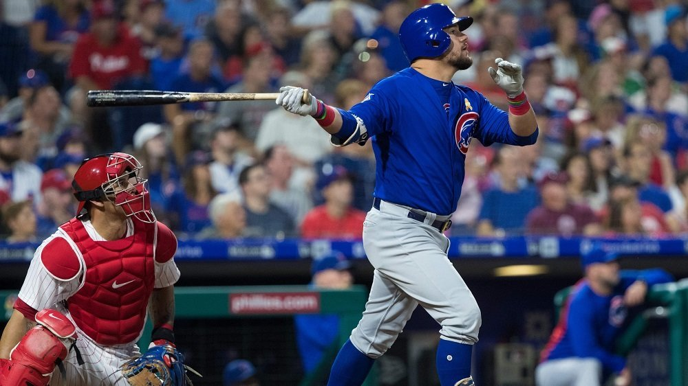 Chicago Cubs left fielder Kyle Schwarber hustled around the bases for a two-run triple. (Photo Credit: Bill Streicher-USA TODAY Sports)
