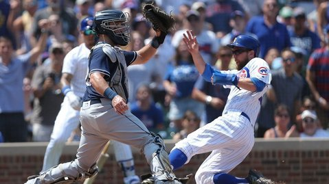 Ben Zobrist scored what proved to be the winning run with a great slide in the second inning. (Photo Credit: Dennis Wierzbicki-USA TODAY Sports)