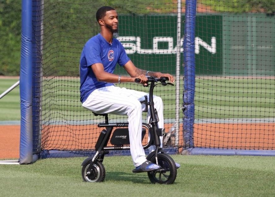 WATCH: Edwards Jr. driving scooter around Wrigley Field