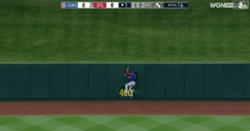 WATCH: Albert Almora Jr. crashes into wall while making inning-ending catch
