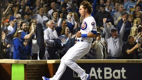 Albert Almora Jr. was the first of three baserunners to touch home plate on Victor Caratini's bases-clearing double. (Credit: Matt Marton-USA TODAY Sports)