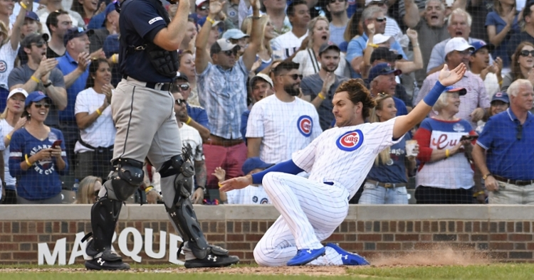 Albert Almora Jr. scored one of the five runs manufactured by the Chicago Cubs in the bottom of the seventh inning. (Credit: David Banks-USA TODAY Sports)