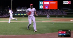 WATCH: Amir Garrett avoids conflict with Kyle Schwarber by running to dugout