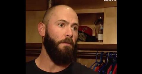 """While speaking with the media, Jake Arrieta threatened to """"put a dent"""" in Todd Frazier's cranium."""