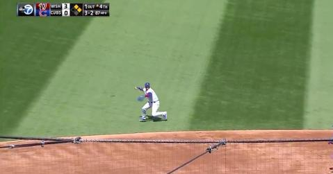 Chicago Cubs shortstop Javier Baez went all out for a phenomenal web gem on Friday.