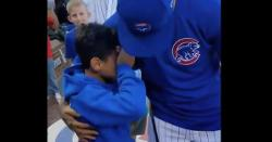 WATCH: Young fan cries tears of joy while meeting Javier Baez
