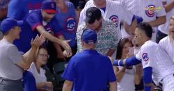 WATCH: Javier Baez gives his hat to fan who was hit by foul ball