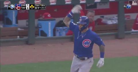 Javier Baez playfully taunted Yasiel Puig while rounding the bases on his grand slam.