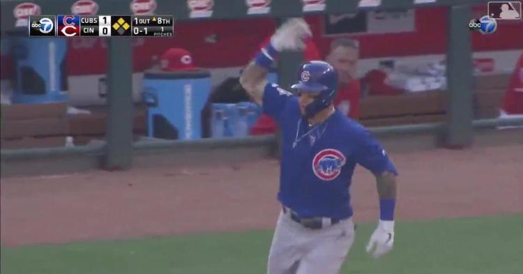 Javier Baez playfully taunted Yasiel Puig while rounding the bases on his grand slam.
